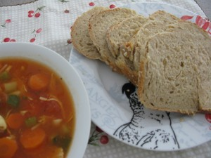 Freshly baked Paidol Bread with homemade minestrone