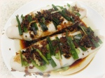 Steamed pangasius fish fillets with homemade sauce from mom (similar to black bean sauce)