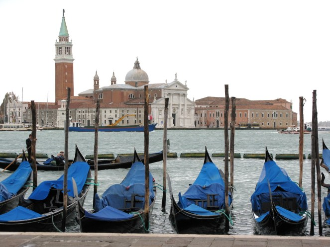 Gondolas by San Marco Square taken with clear sky