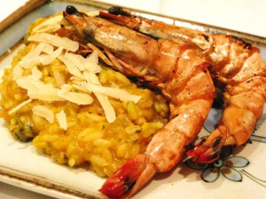 Risotto TRIO with grilled prawns
