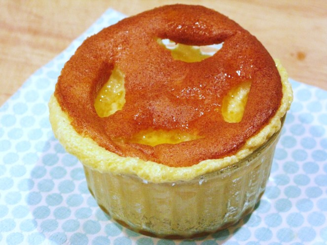 white chocolate souffle with orange liqueur sauce