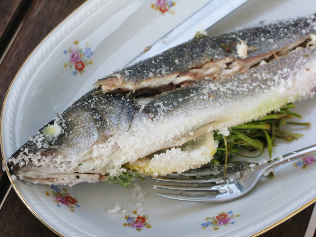 Sea bass baked in Sea salt crust
