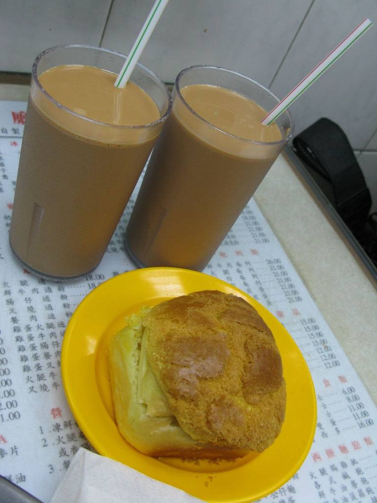 Ice Tea and Bor Law Yau (thick butter in pineapple bun)