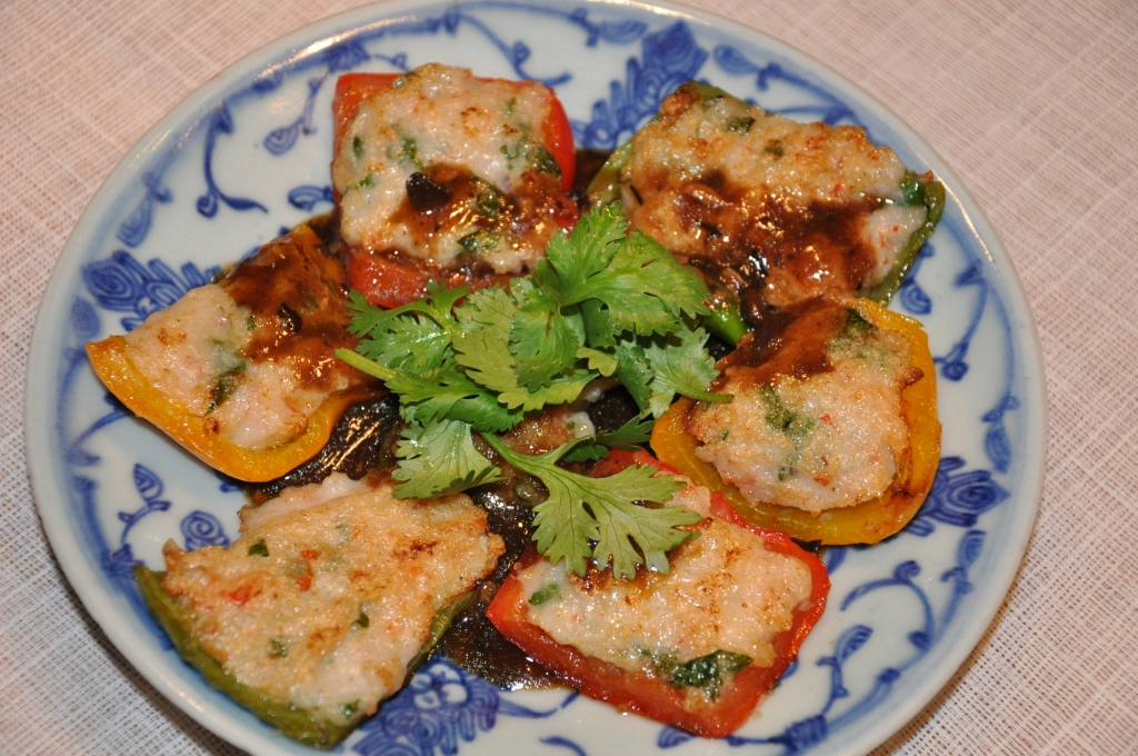 Panfried Chinese stuffed pepper with black bean sauce