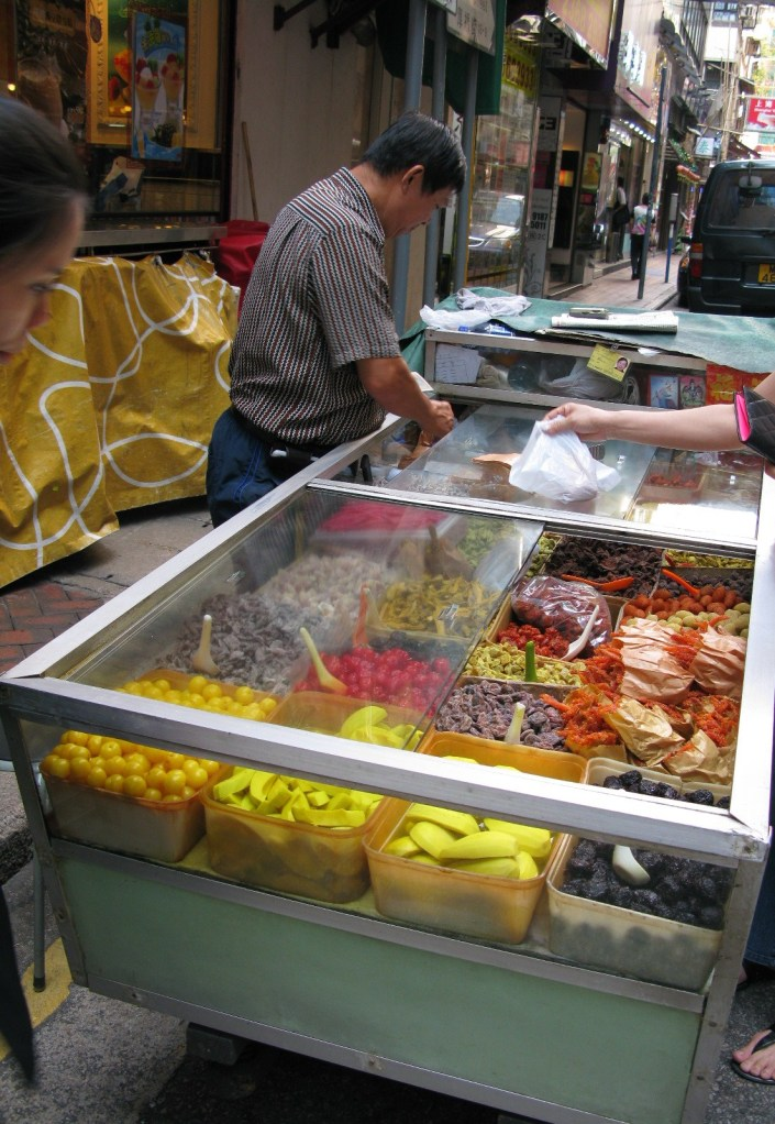 Street cart selling chinese dried snacks