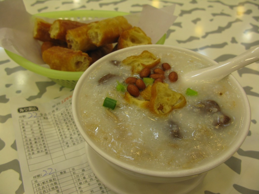 Minced beef congee and fried dough