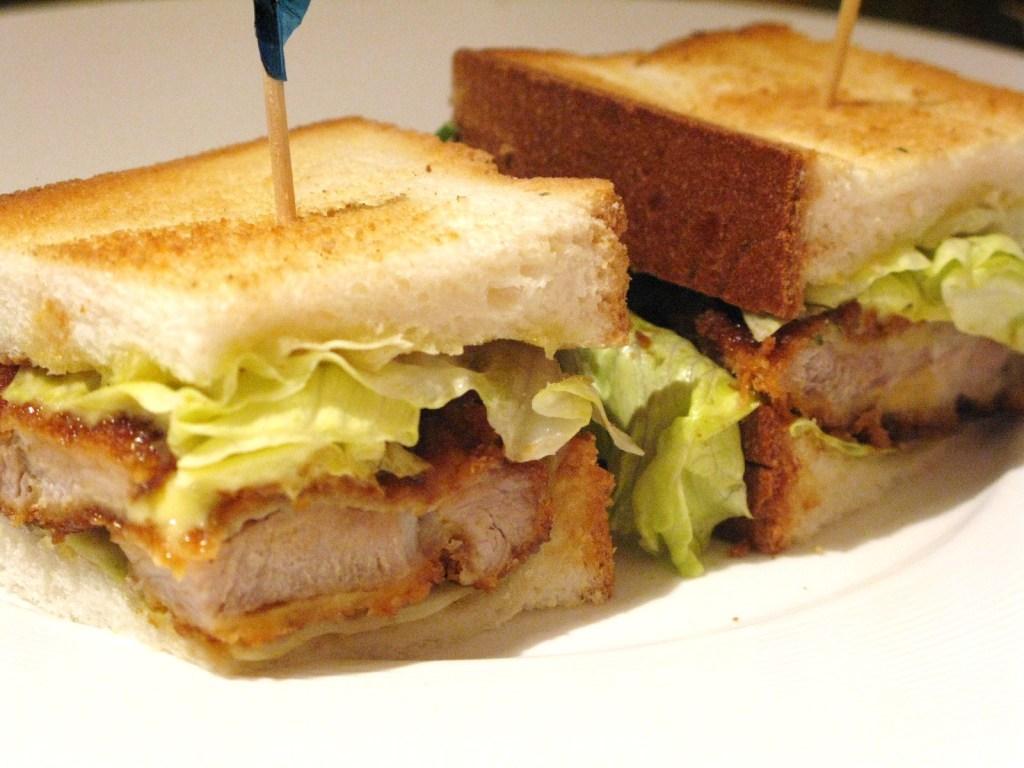 Tonkatsu sandwich eaten in Hong Kong