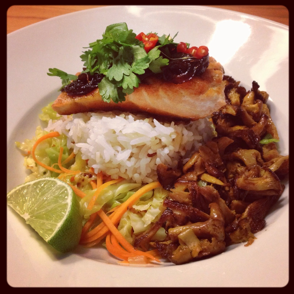 Viet caramelized onion sauce with salmon